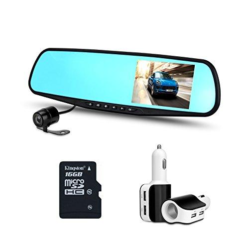 Zetek Digital Car Camera | Car Video Recorder Full HD 1080P | Car Video Camera 4.3 Inch LCD with Dual Lens for Vehicles Front & Rearview Mirror | DVR Vehicles Dash Cam (Front And Rear Facing Dash Cam)