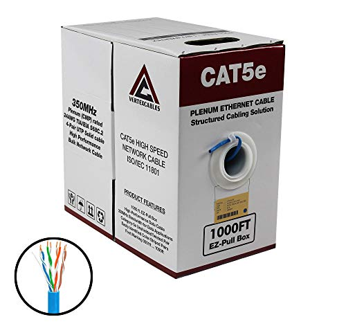 (CAT5E PLENUM 1000FT 350MHZ 24AWG BLUE SOLID NETWORK CABLE CMP)