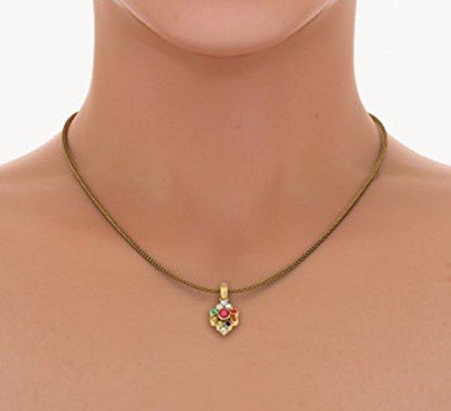 Or jaune 18K 0,1ct tw Round-cut-diamond (IJ | SI) et rubis et Navaratna Pendentif
