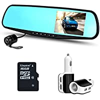 Zetek Digital Car Camera | Car Video Recorder Full HD 1080P | Car Video Camera 4.3 Inch LCD with Dual Lens for Vehicles Front & Rearview Mirror | DVR Vehicles Dash Cam