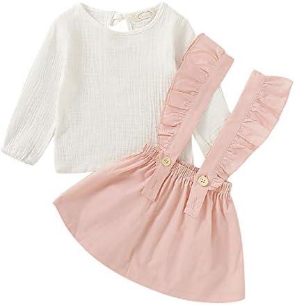 DERCLIVE Conjunto de camisa y falda con correa para niñas ...