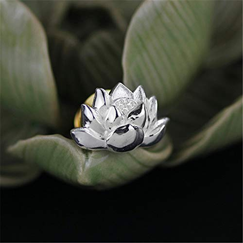 Acecare Sterling Silver Designer Handmade Fine Jewelry Vintage Lotus Flower Women Brooches Broche Pin Badge