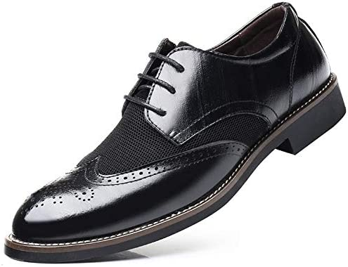 LL Mens Formal PU Leather Business Oxfords Splice Stitching Design Soft Sole Block Heel Driving Shoes
