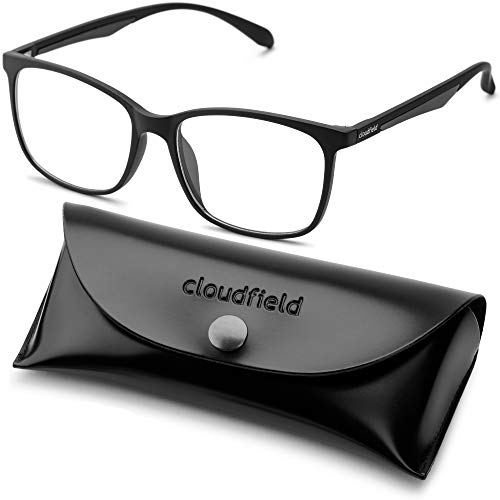 Blue Light Blocking Glasses for Women Men - Balck Square Nerd Eyeglasses Frame - Anti Blue Ray Computer Gaming Glasses - Transparent UV Lenses for Reading TV ()