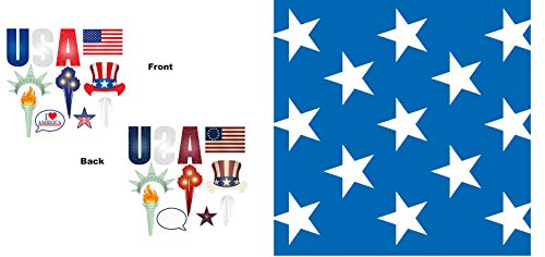 30' x 4' Patriotic Stars Backdrop & 11Ct Patriotic Photo Fun Signs   Photo Booth Props includes USA, American Flag, Torch, Star, Hat & More Ideal For 4th of July, Independence Day Decor Party Supplies