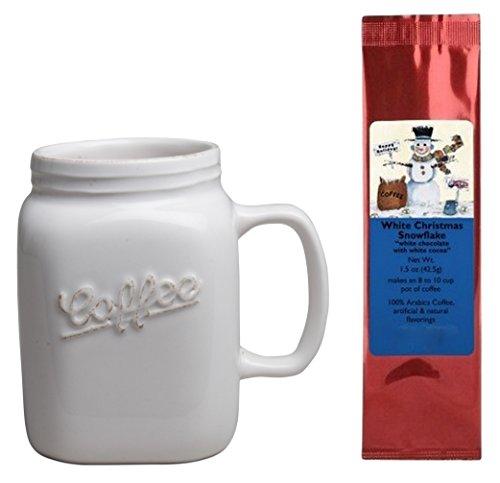 Drinking Jar Mug and White Christmas Snowflake Coffee Bundle Gift Set (2 Items)