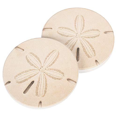 Sand Dollar Seashell Coastal 2.75 x 2.75 Absorbent Ceramic Car Coasters Pack of 2