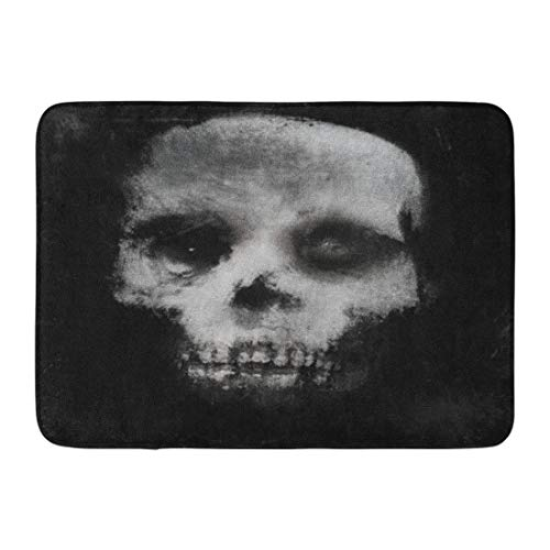 Emvency Doormats Bath Rugs Outdoor/Indoor Door Mat Face Scary of Skull Horror Spooky Halloween White Black Bone Canvas Bathroom Decor Rug 16