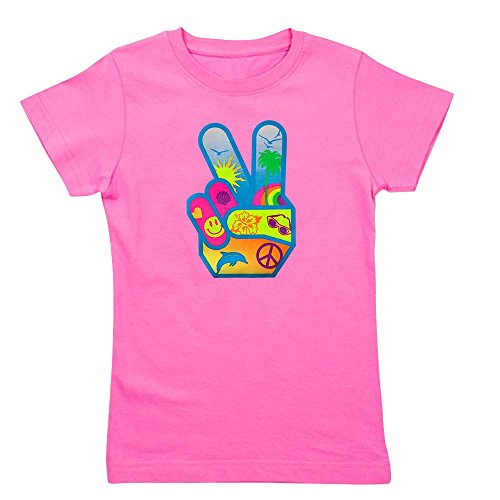 (Royal Lion Girl's Tee T-Shirt (Dark) Peace Sign Symbol Dolphin Smiley Face - Raspberry, Large)