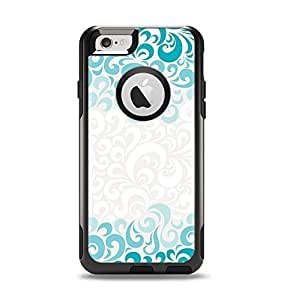 (OtterBox Case & Skin Bundle) The Teal Blue & White Swirl Pattern Apple iPhone 6 Otterbox Commuter White Case and Skin Set (White OtterBox Commuter Case Included!)
