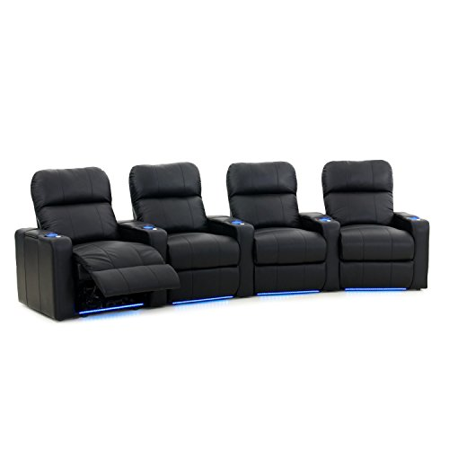 Octane Turbo XL700 Row of 4 Seats, Curved Row in Black Leather with Power Recline (4 Curved Seat)