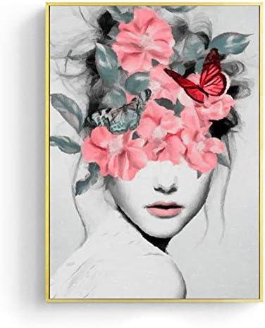 Retrato de niña de las flores Impresiones de la lona Arte de la ...