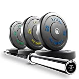 XMark Deadlift Voodoo Olympic Bar and 210 lb XM-3393 Hi-Impact Commercial Olympic Bumper Set