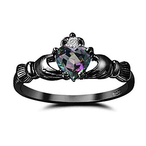 Sterling Silver Claddagh Ring Rainbow CZ Black Gold Rhodium plated Clear CZ Accent Ring