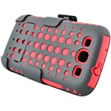 3 in One Armor Case- Red Skin with Black Rubber Crystal Circle Net Design Cover + Black Textured Surface Rubber...