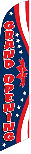 Grand Opening (red/blue) Feather Banner Swooper Flag - NO WIND REQUIRED - Replacement FLAG ONLY (Outdoor Opening Banner)