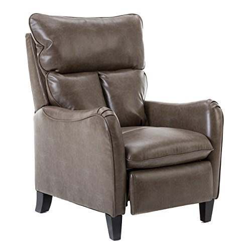 BONZY Recliner Chair Leather Recliner Manual Recliner English Roll Arm  - Taupe