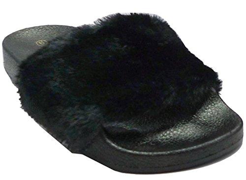 Flop Women's Diva Flip black Black Wild Flat Sandal Faux Fur Slide wqf1PZX