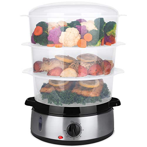 Best Choice Products 9.5qt 800W 3-Tier BPA-Free Stackable Electric Food Steamer w/Stainless Steel Base, Egg Pockets, Rice Bowl, Timer & Auto Shutoff