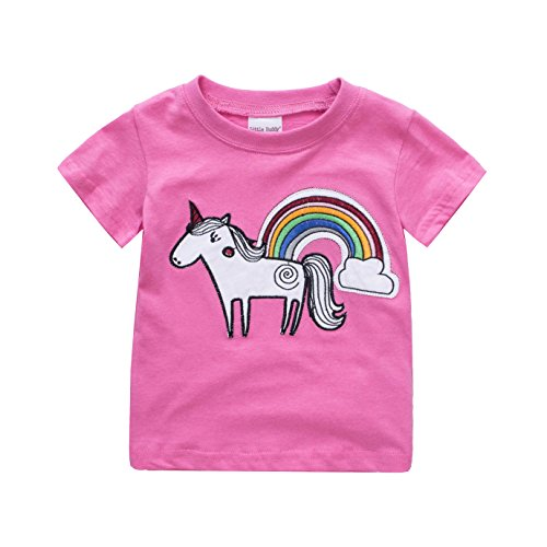 Toddler Boys Girls T-Shirts Tops Organic Short-Sleeved Cute Animals Prints Embroidery Unisex 2t-7t (2T, Rose) by KiKi Shop (Image #7)