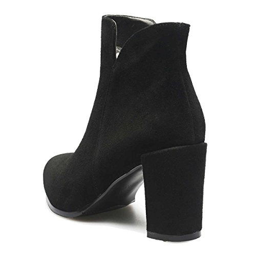 Leather Boots Women's Shoes Simple Special Verocara C Heel black Suede Style Ankle Toe Genuine Almond Mid 1dvdq7gwS