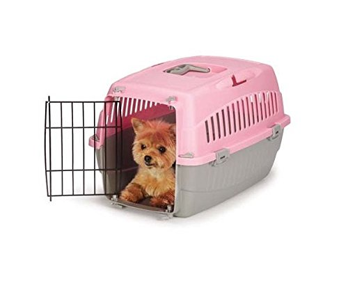 Cruising Companion Small Dog Cat Pet Travel Crate Lightweight Pet Carrier Plastic & Wire Kennel Cab(Small Peony)