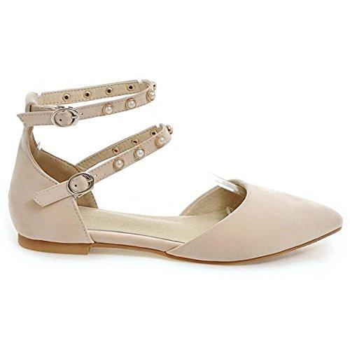 TAOFFEN Women's Buckle Strap Flat Shoes Beige eDYBg
