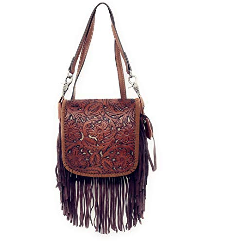 Western Genuine Leather Cowgirl Crossbody Messenger Fringe Laser Cut Purse Bag in 5 colors (Brown)