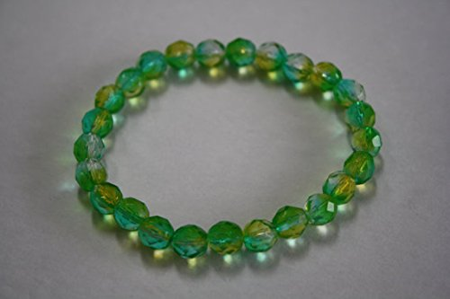 JP_Beads Turquoise and Lime Green Crystal Bracelet, Crystal Bracelet, Turquoise and Lime Green 8mm ()