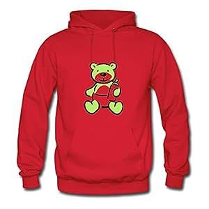 Dorastanl X-large Creative Red Hoodies - Teddy Bear Print,women