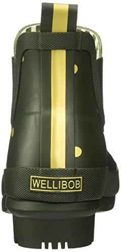Joules Frauen Wellibob Regenstiefel Waldgrün / Gold Spot