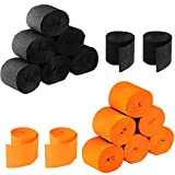Leinuosen 525 Feet Totally Halloween Crepe Paper Streamers Black and Orange Paper Decoration for Halloween, 16 Rolls