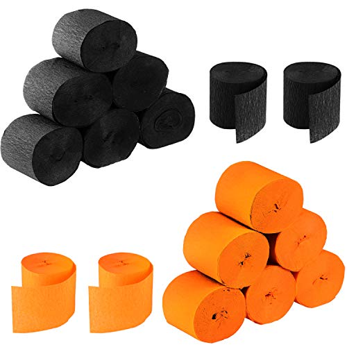 Leinuosen 525 Feet Totally Halloween Crepe Paper Streamers Black Orange Paper Decoration Halloween, 16 Rolls