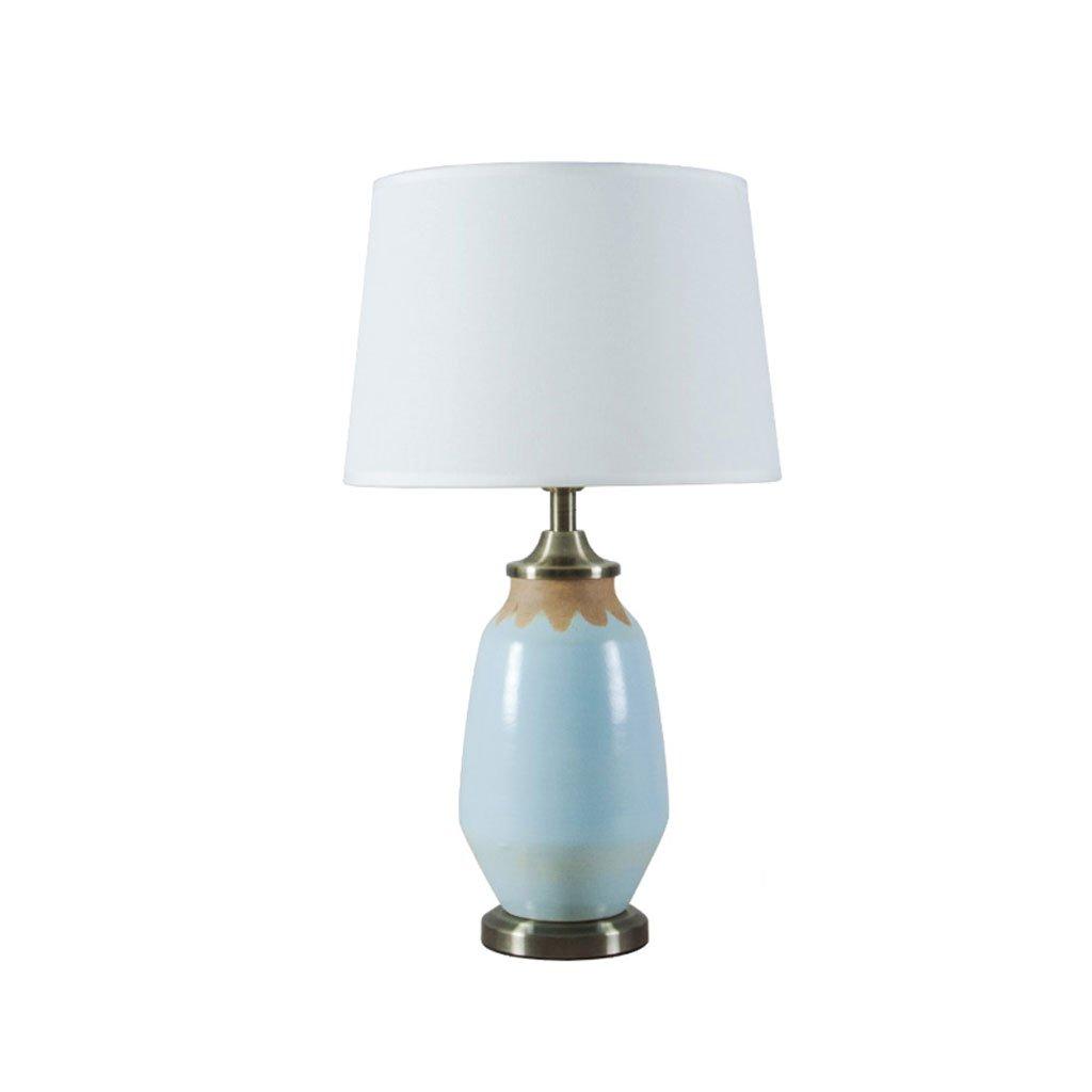 TIANTA-Light American Retro Ceramic Table Lamps Blue Modern Simple Living Room Bed Bedside ( Color : B )