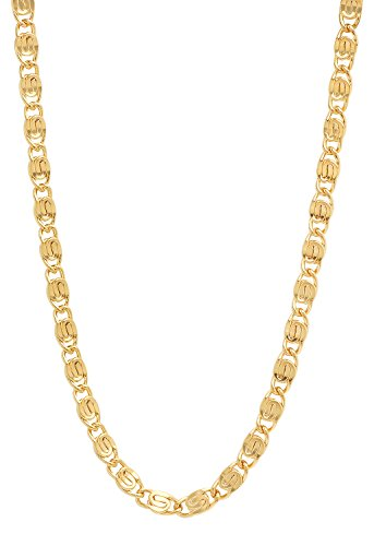 Venetian Link Chain (The Bling Factory 5mm 25 mills 14k Gold Plated Venetian Link Chain Necklace, 22 inches)