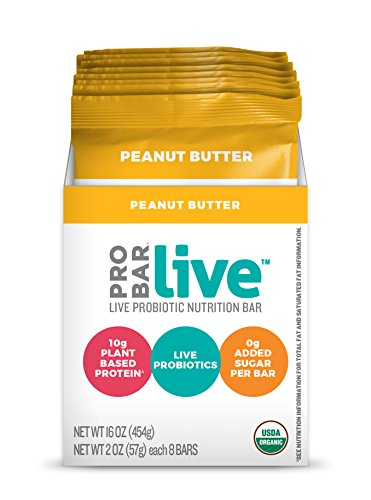 Probar Live Probiotic Nutrition Bar, Peanut Butter, 8 Count