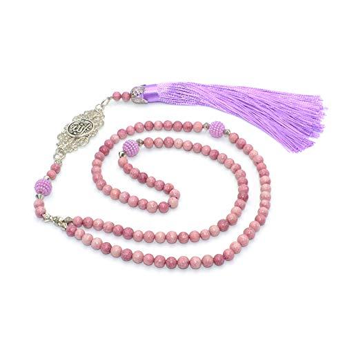 Natural Pink Jade Stone Prayer Beads (6 mm 99 Beads) Tesbih-Tasbih-Tasbeeh-Misbaha-Masbaha-Subha-Sebha-Sibha-Worry Beads ()