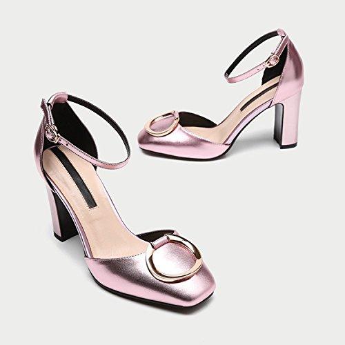 spessa profonda 38 fashion Moda rosa quadrata poco 36 scarpe tacco AJUNR tacco alto Da Sandali bocca Donna Alla 9cm testa Scarpe S4S1v