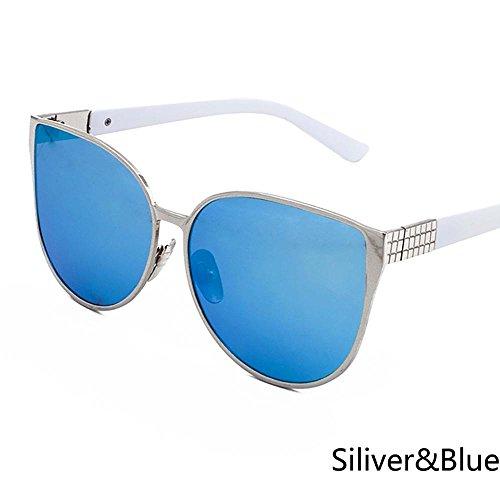 Gafas Sol W de Plata Ojo de Oro Hembra Sol Gran Tamaño Rosa de ZHANGYUSEN Cateye de W Gafas Gafas Espejo de Mujeres azul Gafas de de Sliver Gato qHgzx8U4w