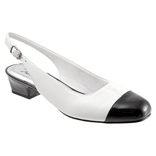Trotters T7001 Women's DEA Pump Shoe, White/Black - 12 N