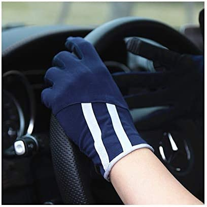 日焼け止め手袋メンズ滑り止めタッチスクリ ン通気性運転薄い手袋 UVカット手袋 グロ ブ 日焼け防止 (カラ : Navy サイズ : One サイズ)