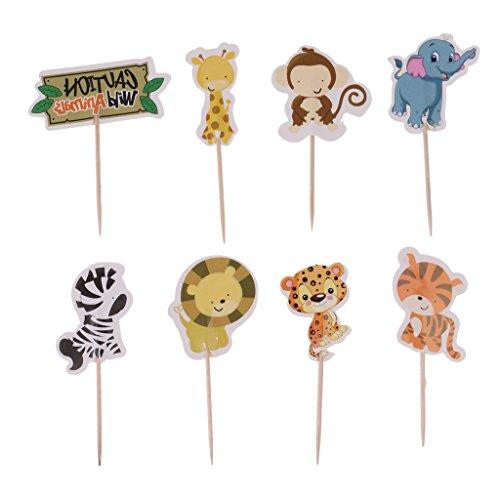 (Dovewill 24pcs Animal Pals Cupcake Picks Jungle Safari Monkey Zebra Tiger Cake Toppers Flags Decorations Kids Birthday Baking Accessories)