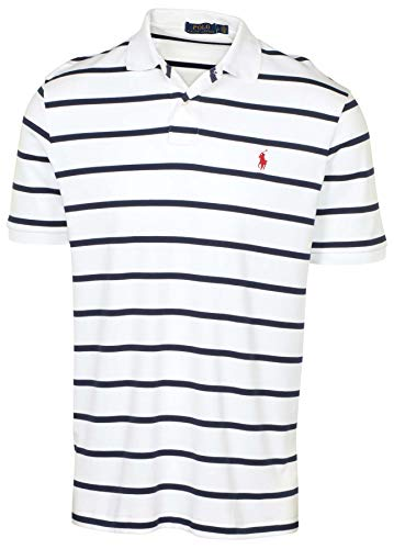 Polo Ralph Lauren Men's Soft Touch Classic Fit Short Sleeve Polo Shirt Striped Two-Button (White/Navy, XX-Large)