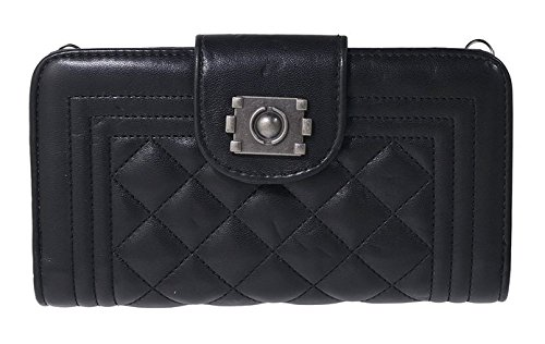 Purse Traveler Handbag Quilted (Beaute Bags Leatherette Chain-Traveler Quilted Wallet & Removable Chain Shoulder Purse and Evening Bag Clutch (Black))