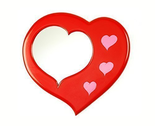 "Red and Pink Decorative Frame Wall Mirror 17"" x 27"" - Love Hearts by Marvellous Mirrors"