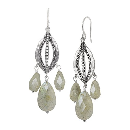 Silpada 'Flora' Natural Labradorite Beaded Chandelier Drop Earrings in Sterling Silver