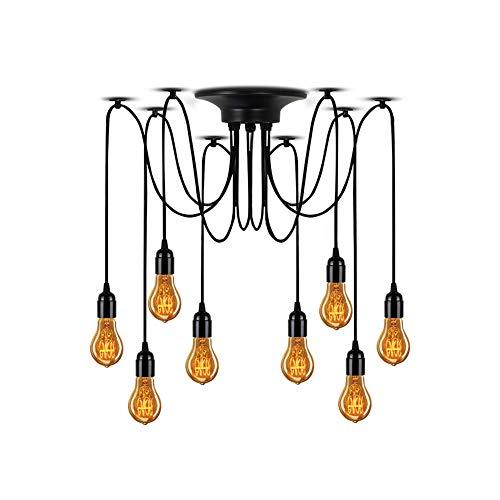 Lampundit Industrial Spider Lamps 8-Light Pendant, Multiple Ajustable DIY Ceiling Spider Light E26 Rustic Chandelier Black Hanging Light Dining Hall Kitchen Bedroom (Each with 70.8