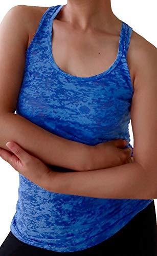 - Ladies Yoga Active Workout Fitness Burnout Racerback Tank Top, Royal Blue XL