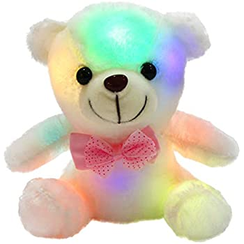 WEWILL Glow Teddy Bear With Luminous LED Colorful Night Lights Stuffed Animals Gifts For Kids On Xmas Birthday Halloween Or Any Other Holiday Occasions