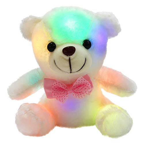 WEWILL Glow Teddy Bear with Luminous LED Colorful Night Lights Stuffed Animals, Gifts for Kids on Xmas, Birthday, Halloween, or Any Other Holiday Occasions, 8-Inch, White